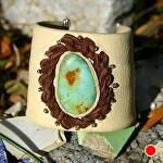 "#56410D Fox Turquoise Cuff by Deborah & Russell Shamah  ~ 2 1/4"" x Adjustable"