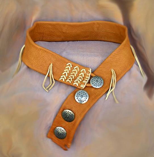 #100212 Elk Leather Belt with Fringe by Deborah & Russell Shamah  ~  x