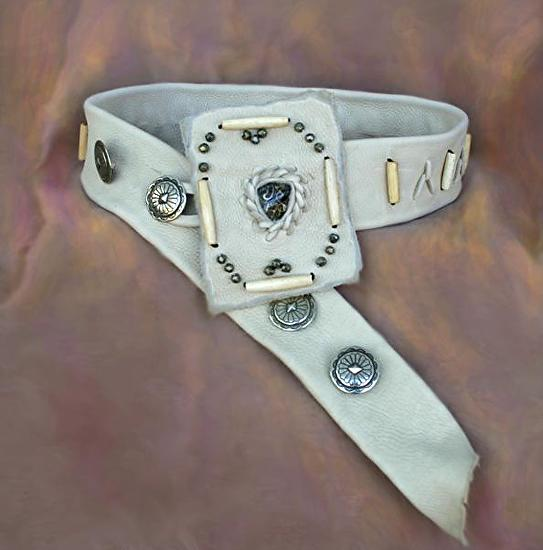 #100312 Cream Elk Leather Belt by Deborah & Russell Shamah  ~  x