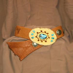 #100712 Buckskin Elk Leather Belt by Deborah & Russell Shamah  ~  x