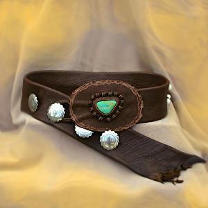 #100812  Elk Leather Belt by Deborah & Russell Shamah Elkhide Leather ~  x