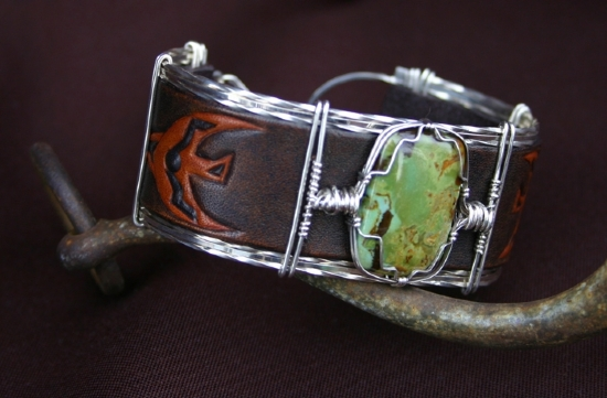 "51110 ~ McGuinness Turquoise & Thunderbird by Deborah & Russell Shamah Carved Leather ~ 1.25"" x 9.5"""