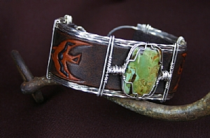 """51110 ~ McGuinness Turquoise & Thunderbird by Deborah & Russell Shamah Carved Leather ~ 1.25"""" x 9.5"""""""