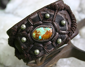 "50109 ~ Number 8 Turquoise Shield by Deborah & Russell Shamah Elkhide Leather ~ 1 3/4"" x 9 1/2"""
