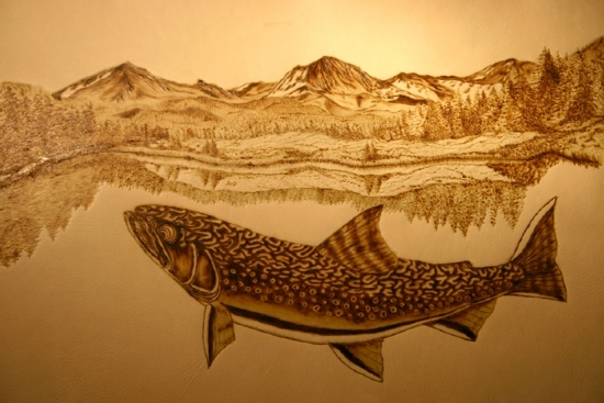 "90806 ~ Colorado Brook by Deborah & Russell Shamah Pyrography ~ 11"" x 17"""