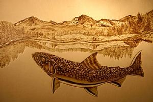 "90806 ~ Colorado Brook by Deborah & Russell Shamah Pyrography ~ 11"" x 17"""