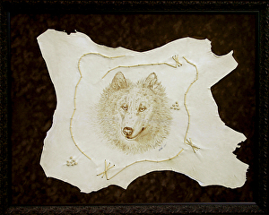 "90306 ~ Wolf by Deborah & Russell Shamah Pyrography ~ 23.5"" x 29.5 """
