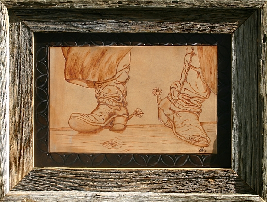 """90106 ~ On the Fence by Deborah & Russell Shamah Pyrography ~ 11"""" x 14"""""""