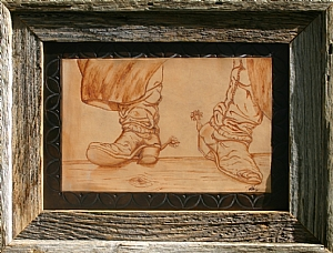 "90106 ~ On the Fence by Deborah & Russell Shamah Pyrography ~ 11"" x 14"""