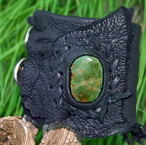#50609  Rendezvous West Braveheart Leather Cuff by Deborah & Russell Shamah Deerhide Leather ~  x
