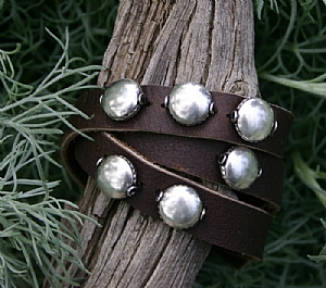 "#51710 Silver Triple Wrap by Deborah & Russell Shamah Leather ~ 1/2"" x Adjustable"