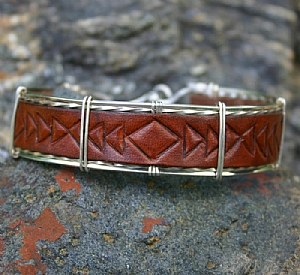 53109 Rendezvous West Leather Bracelet by Deborah & Russell Shamah Carved Leather ~  x