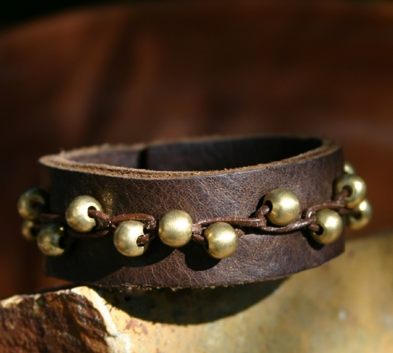 """51810 ~ Woven & Brass by Deborah & Russell Shamah Leather ~ 1"""" x 8 3/4"""""""