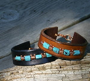 """54910 ~ Copper & Turquoise by Deborah & Russell Shamah  ~ 1"""" x 9"""""""