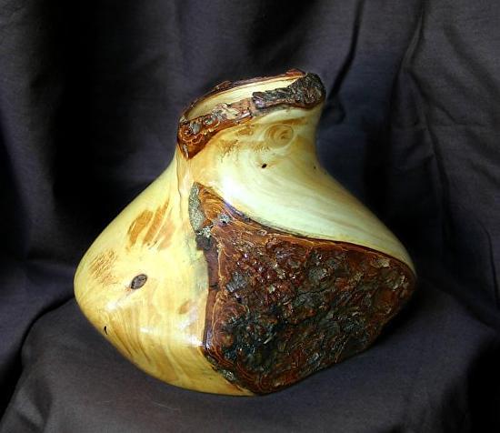 "#31710  Pine Bough Vase by Deborah & Russell Shamah Wood ~ 5 1/2"" x 6"""