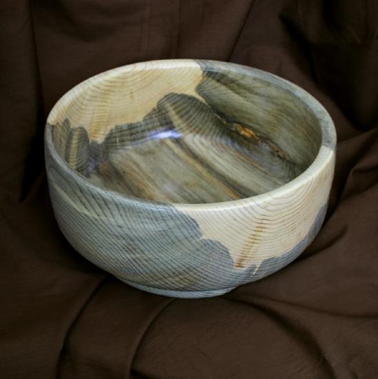 "#31810 Blue Pine Salad Bowl by Deborah & Russell Shamah Wood ~ 9 1/2"" x 4 1/2"""