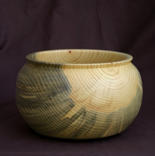 "30511 ~ Blue Pine Bowl by Deborah & Russell Shamah Wood ~ 4.5"" x 7.5"""