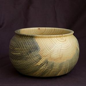 "30511 ~ Blue Pine Bowl by Deborah & Russell Shamah Wood ~ 4.5"" x 7.5"""