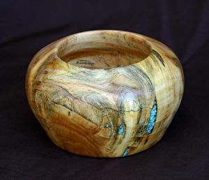 #32111 Beetle Pine with Turquoise Inlay by Deborah & Russell Shamah  ~ 2.75 x 5