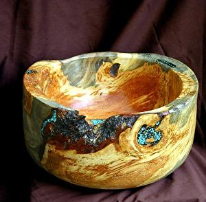 #33411 Beetle Pine Burl with Turquoise Inlay by Deborah & Russell Shamah  ~ 6.5 x 12.5