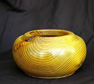 #33711 Osage Orange with Turquoise Inlay by Deborah & Russell Shamah  ~  x