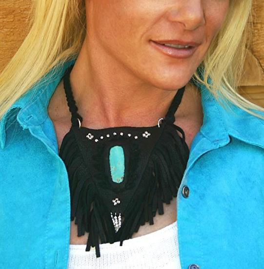 #71711 Rendezvous West Leather Shield Necklace by Deborah & Russell Shamah Deerhide Leather ~  x
