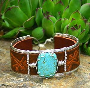 #51711 Number 8 Turquoise & Broken Arrow by Deborah & Russell Shamah  ~  x