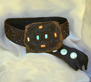 #100711 Jewel of the Rockies - Elk Leather Belt by Deborah & Russell Shamah Elkhide Leather ~  x