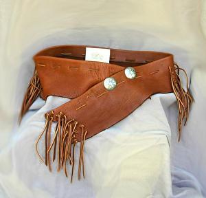 #101611 Elk Leather Shorty Wrap Belt by Deborah & Russell Shamah Elkhide Leather ~  x