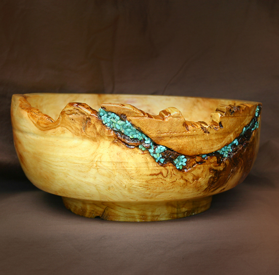 "#34411 Pine Burl with Nevada Turquoise by Deborah & Russell Shamah Wood ~ 5"" x 10"""