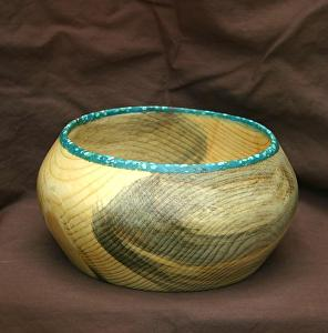 "#34811 Beetle Kill Pine with Turquoise by Deborah & Russell Shamah  ~ 3.5"" x 7"""