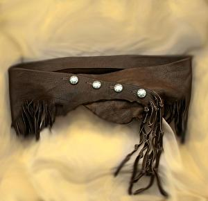 #101911 Elk Wrap Belt by Deborah & Russell Shamah Elkhide Leather ~  x