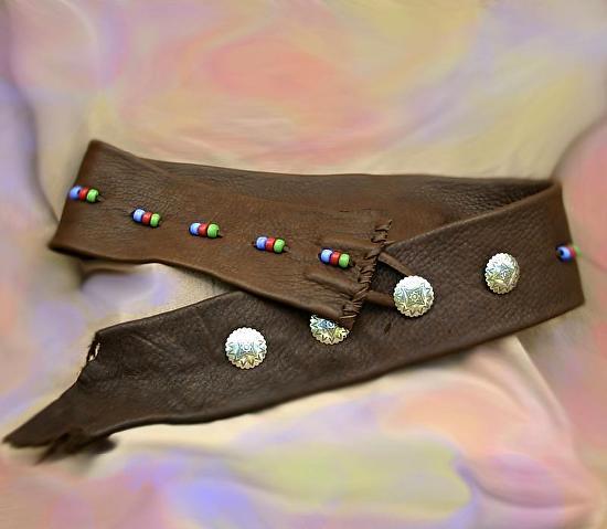 #102011 Elk Leather Belt by Deborah & Russell Shamah Elkhide Leather ~  x