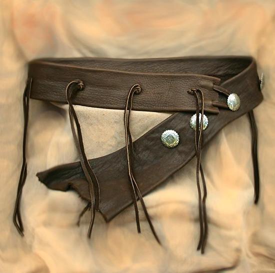 #102111 Elk Tassel Belt by Deborah & Russell Shamah Elkhide Leather ~  x