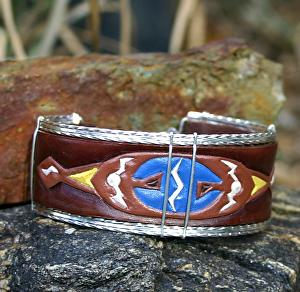 """#53211 Thunderbirds Joining Force by Deborah & Russell Shamah Carved Leather ~ 1 1/2"""" x 8 1/4"""""""