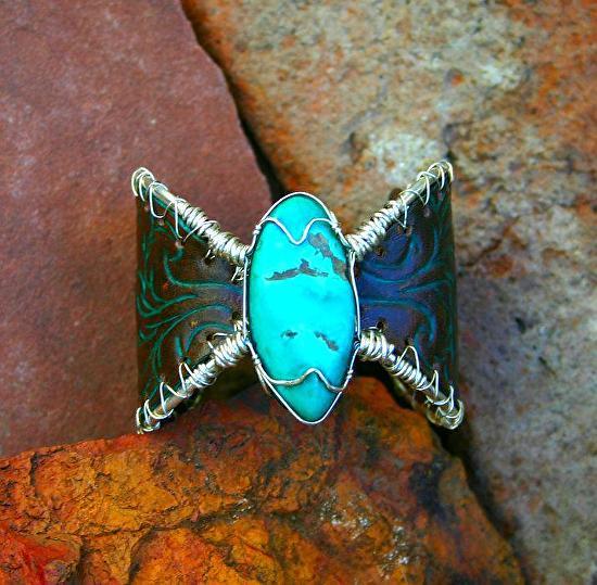 "#54211 Mountain Fern & Fox Turquoise by Deborah & Russell Shamah  ~ 2"" x"