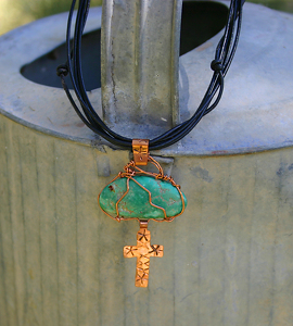 71609~ Fox Turquoise & Copper Cross by Deborah & Russell Shamah  ~  x