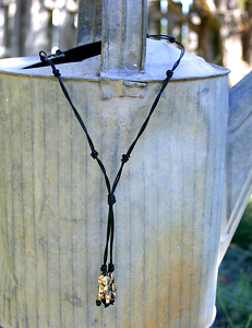 #72307 Knotty Lariat with Sterling Silver by Deborah & Russell Shamah Leather ~  x