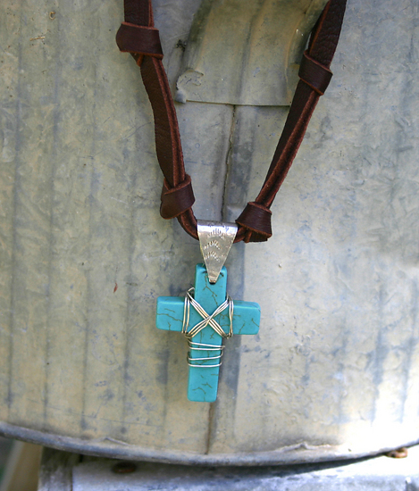 72310~ Howlite & Sterling Cross by Deborah & Russell Shamah  ~  x