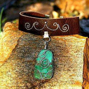 #72311 Leather Choker with Turquoise Pendant by Deborah & Russell Shamah Leather ~  x