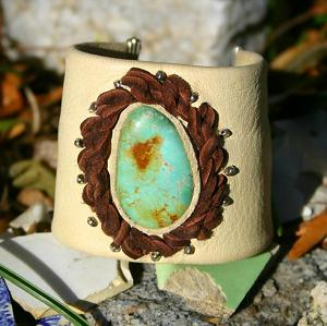 "#56410D Fox Turquoise Cuff by Deborah & Russell Shamah  ~ 2 1/4"" x Adjustable"