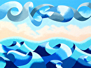 Mark Webster - Abstract Ocean Seascape Oil Painting 30x40 (1-8-13) by Mark Webster Oil ~ 30 x 40