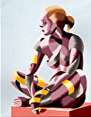 Michaela 24.03 Abstract Geometric Futurist Figurative Oil Painting by Mark Webster Oil ~ 20 x 16
