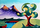 "Mark Webster - Abstract Landscape Oil Painting 2.6.13 by Mark Webster Oil ~ 5"" x 7"""