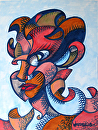 """Mark Webster - Abstract Geometric Futurist Portrait Ink Drawing 2.8.13 by Mark Webster Ink ~ 12"""" x 9"""""""