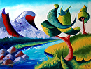 "Mark Webster - Abstract Landscape Oil Painting 2-11-13 by Mark Webster Oil ~ 9"" x 12"""