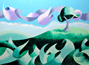 "Mark Webster - Abstract Geometric Landscape Oil Painting 2013-02-25 by Mark Webster Oil ~ 9"" x 12"""