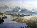 Mark Webster - Mountain Landscape Grayscale Oil Painting by Mark Webster Oil ~ 9 x 12