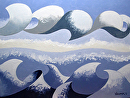Mark Webster - Abstract Geometric Ocean Seascape Oil Painting 2013-03-14 by Mark Webster Oil ~ 9 x 12