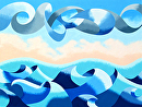 "Abstract Geometric Ocean Seascape Oil Painting by Mark Webster Oil ~ 30"" x 40"""